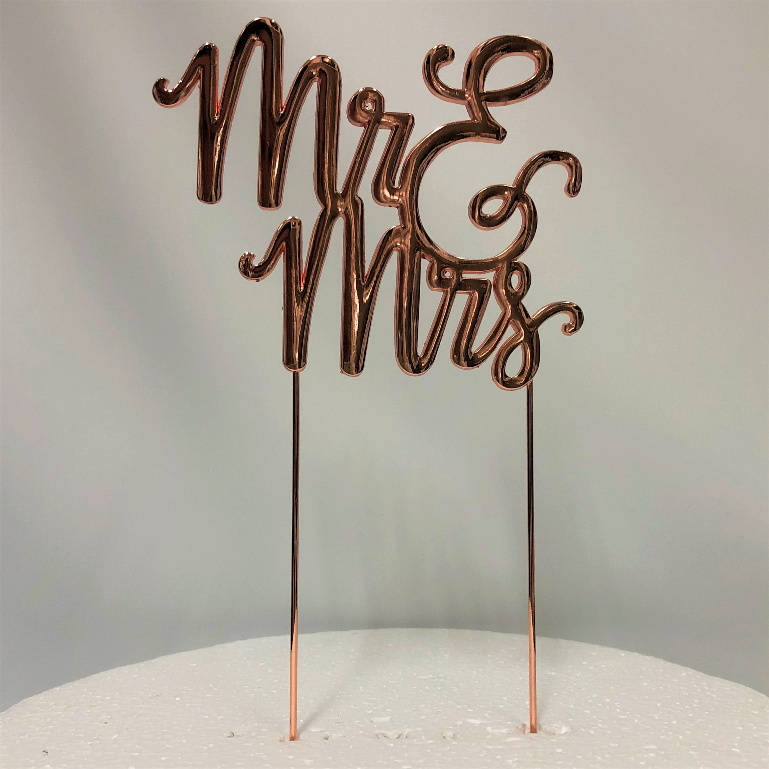 Glasshouse Cakes Supplies Mr And Mrs Rose Gold Metal Cake Topper