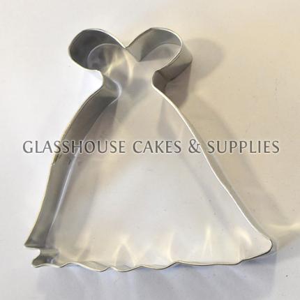 Wedding dress cookie cutter glasshouse cake supplies for Wedding dress cookie cutters