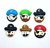 Assorted Pirate Faces Edible Toppers - 6 pack