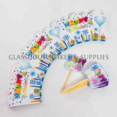 Happy Birthday Cupcake Skirts with Picks - Blue
