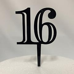 Number 16 Black Acrylic Cake Topper