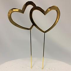 Gold Mirror Double Hearts Acrylic Cake Topper
