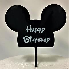 Black Mickey Mouse Happy Birthday Acrylic Cake Topper