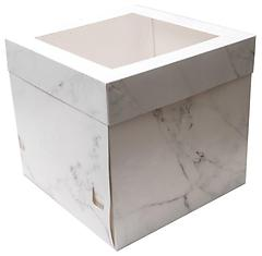 12x12x12 inch Tall White Marble Cake Box with Window Display Lid