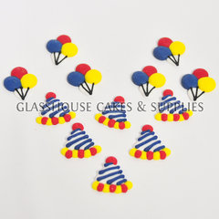 Balloon and Party Hat Icing Toppers