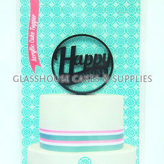 Happy Birthday Black Acrylic Cake Topper