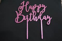 Happy Birthday Glitter Pink Cake Topper