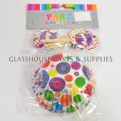 Colourful Party Buttons Cupcake Case and Pick Set