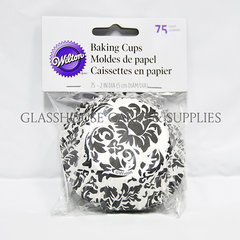 Black and white damask baking cups