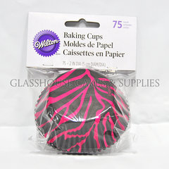 Hot pink and black zebra Baking Cups