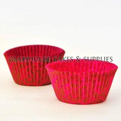 50 Floral Patty Cups - gold/pink