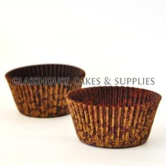 50 Floral Patty Cups - gold/brown