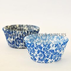 50 White/blue Floral Patty Cups