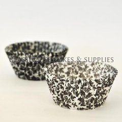 50 White/black Floral Patty Cups