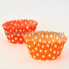 50 orange/white Polka Dot Patty Cups