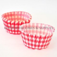 50 Red Checkered Patty Cups