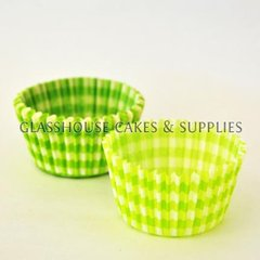 50 Green Checkered Patty Cups