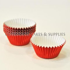 50 Mini Metallic Red Patty Cups