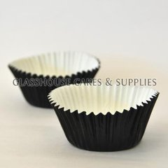 50 Mini Metallic Black Patty Cups