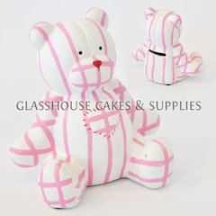 White and Pink Striped Bear