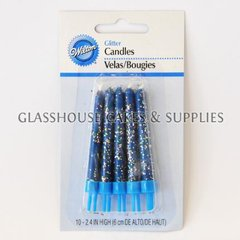 10 Blue Wilton Glitter Candles