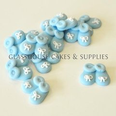 Blue Baby Booties Edible Toppers - 12 pack