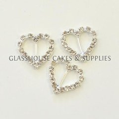 1 Small Heart Diamante Buckle