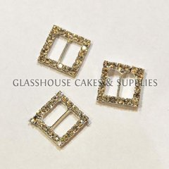 5 Small Square Diamante Buckles