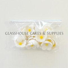 White with Yellow Center Blossom Flowers Edible Toppers - 20 pack