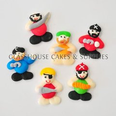 6 Mini Pirates Fondant Toppers