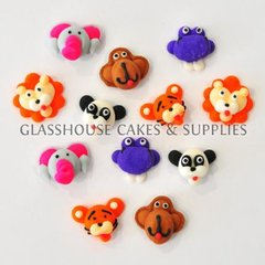 12 Animal Heads Fondant Toppers