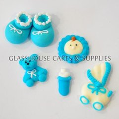 6pc Blue Baby Fondant Toppers