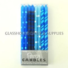 Small Blue Tapered Party Candles