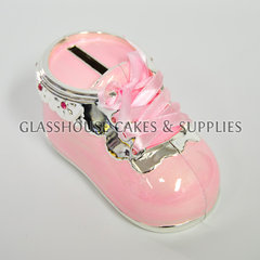 Metal Shoe Coin Bank Pink
