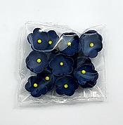 Navy Blue with Yellow Center Blossom Flowers Edible Toppers - 20 pack