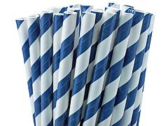 Paper Straws - Navy Blue and White