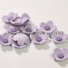 Purple 2cm Simple Icing Flowers