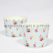25 Light Blue Floral Cupcake Cases Large