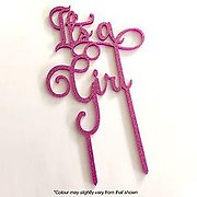 IT'S A GIRL (Pink Glitter) - Cake Topper