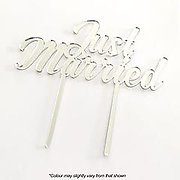 JUST MARRIED (Silver Mirror) - Cake Topper