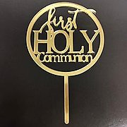 First Holy Communion Gold Mirror Cake Topper