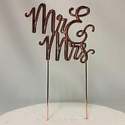 MR and MRS Rose Gold Metal Cake Topper