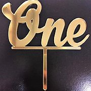 Gold Mirror One Acrylic Cake Topper