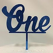 One Glitter Blue Acrylic Cake Topper