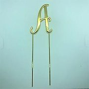 Letter A Gold Metal Cake Topper