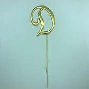 Letter D Gold Metal Cake Topper