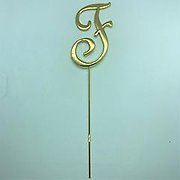 Letter F Gold Metal Cake Topper