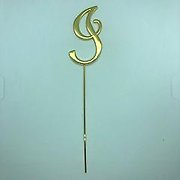 Letter I Gold Metal Cake Topper