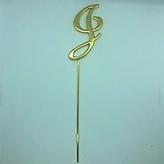 Letter J Gold Metal Cake Topper