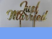 Just Married Gold Cake Topper